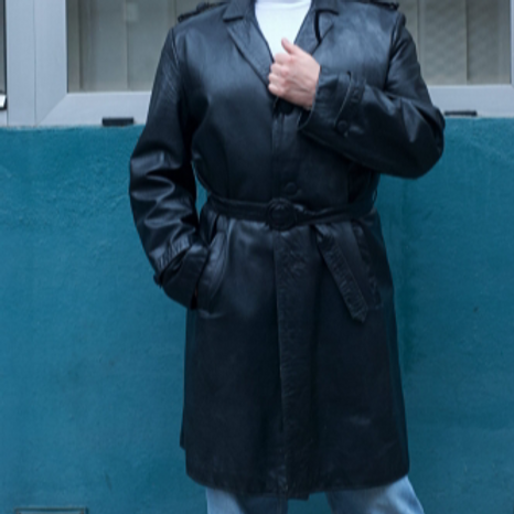 Vintage 70s black leather coat L
