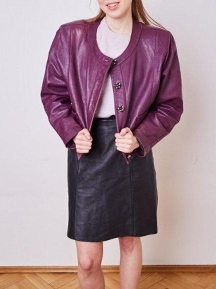 Vintage purple leather blazer Robin's 40