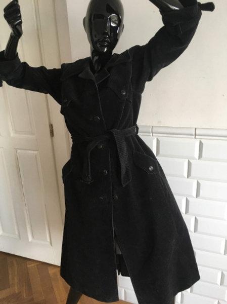 Vintage 70s black very soft corduroy trench-coat 38/40
