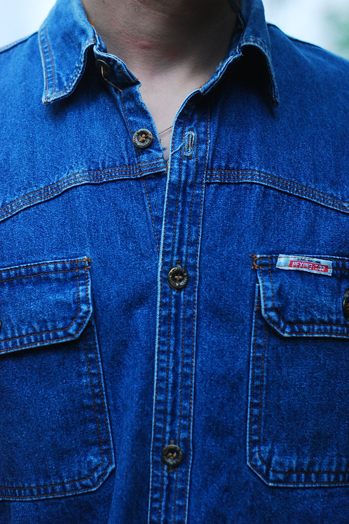 Vintage thick denim shirt with short sleeves M/L