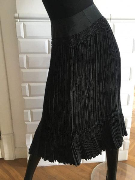 Vintage black cotton accordion skirt 38