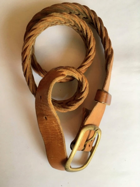 Vintage light brown braided leather belt with gold hardware 90