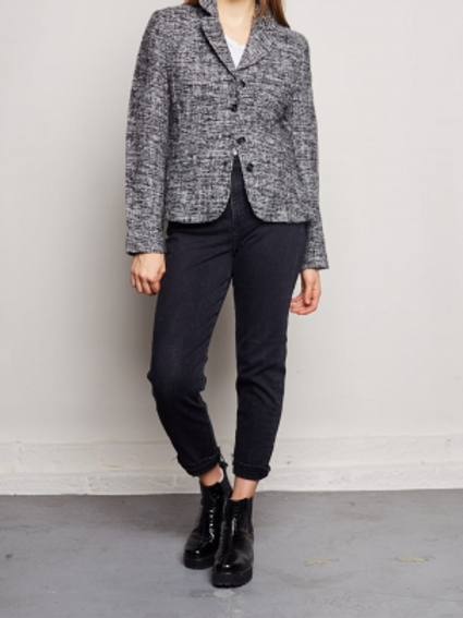 Vintage grey blazer with silver thread S