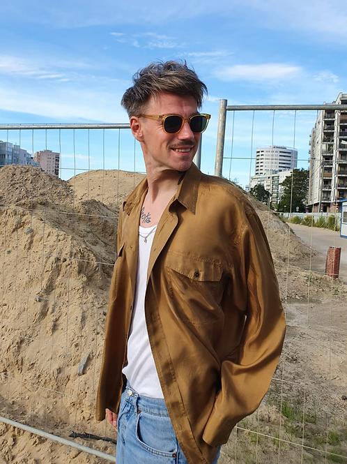 Vintage long-sleeved cognac silk shirt L/XL