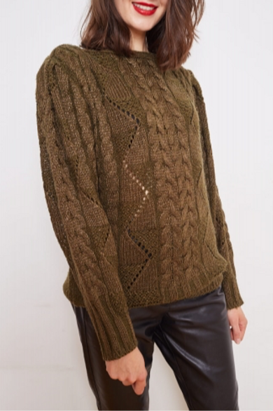 Vintage khaki sweater with braids M/L
