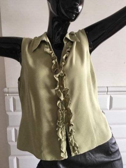 Vintage olive ruffle blouse  42