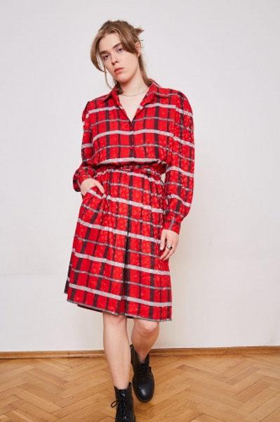 Red vintage 80's dress 42