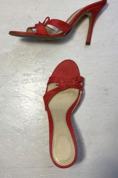 Vintage red leather high-heeled sandals 40