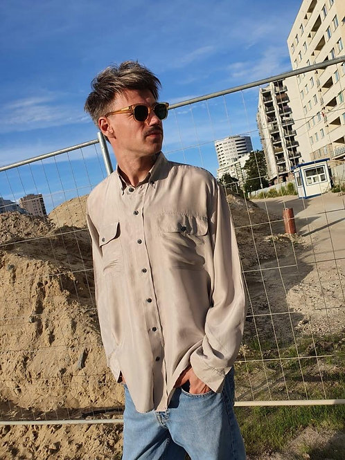 Vintage sandy-gray silk shirt L