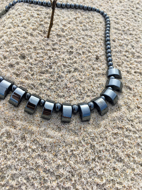 Vintage  hematite stone necklace