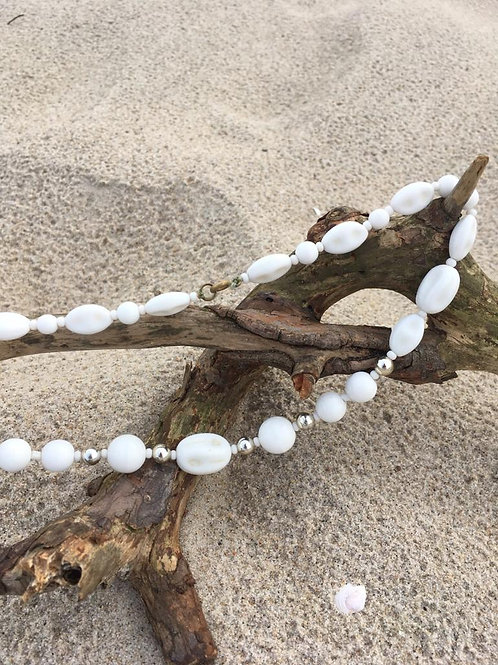 Vintage white glass necklace