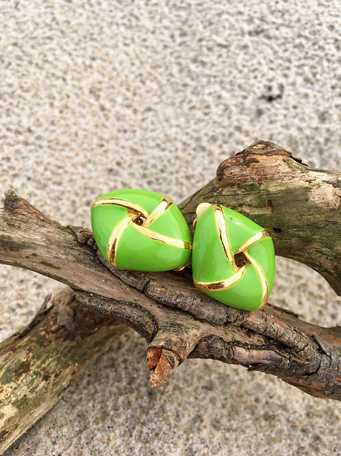 Vintage green clip on earring with gold finish