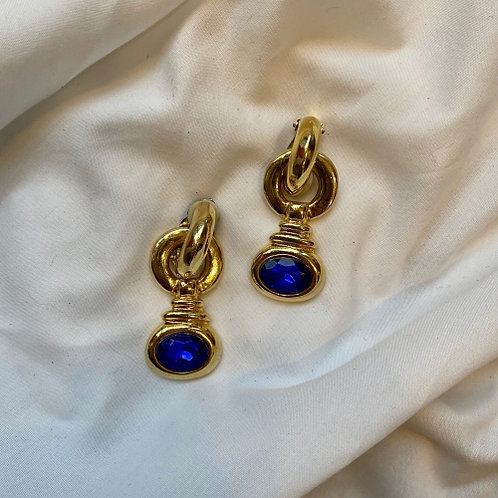 Vintage 80s hanging clip on earrings  with navy blue eye