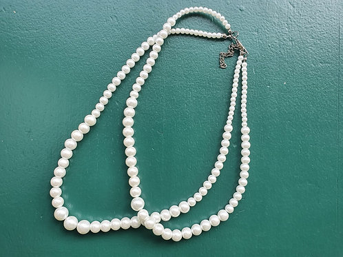 Vintage classic double pearl necklace