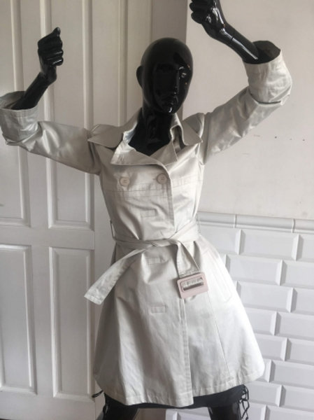 Vintage off white pearl cotton trench-coat  38