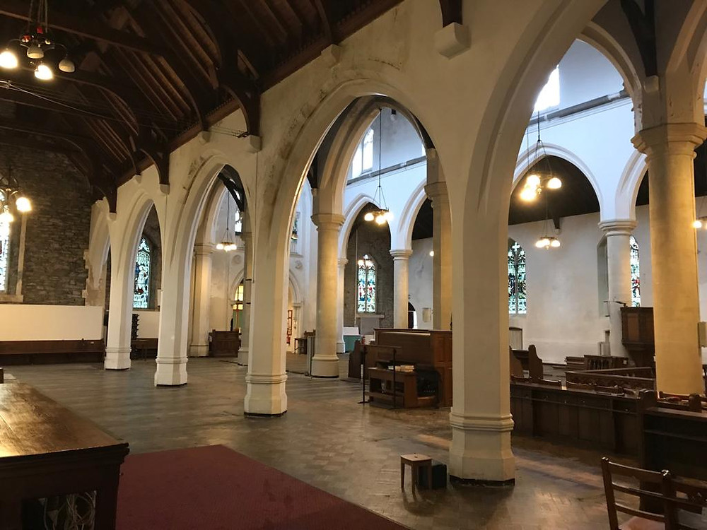Interior of Saint Elvan's church in Aberdare, designed by William Moseley's ancestor, Andrew Moseley.