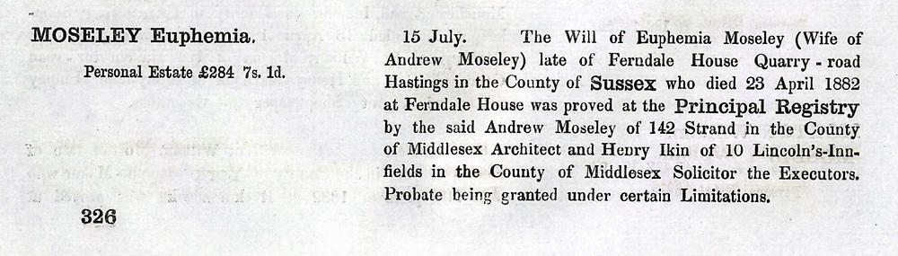 Index of wills summary for Euphemia MacDonald Moseley.