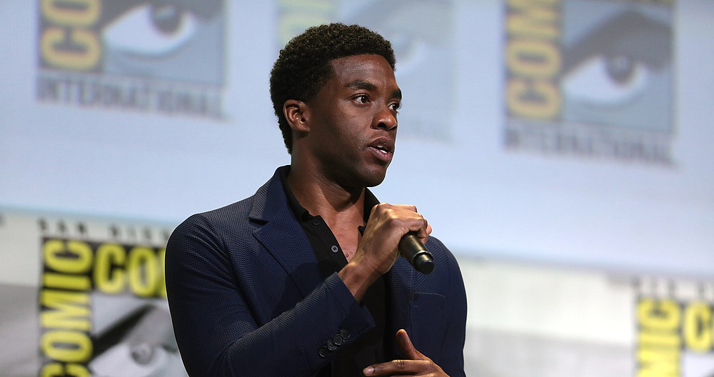 Chadwick Boseman speaks at Comic Con.