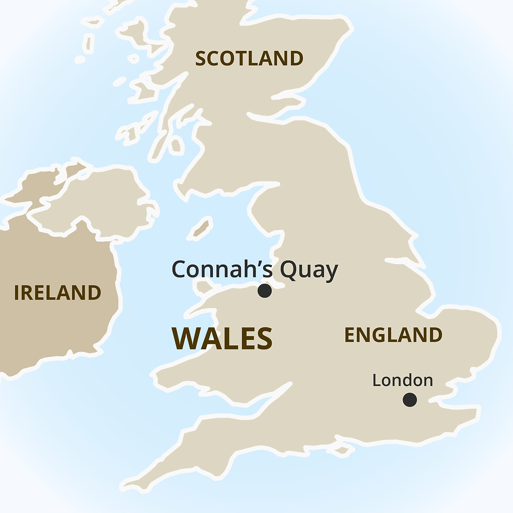 Map of the British Isles showing the location of Connah's Quay in Wales.
