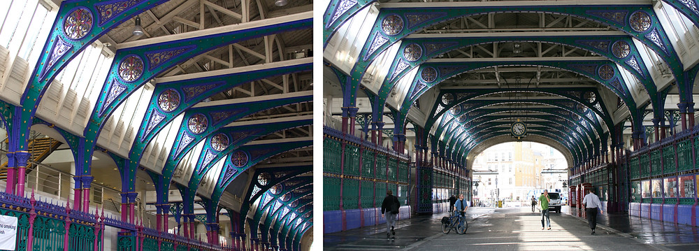 Interior images of Smithfield Market, showing steel trusses in ornate Victorian style.