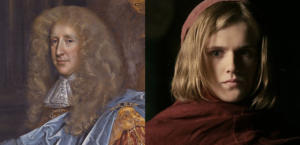 Robert Bruce 1st Earl of Ailesbury (left) and Eugene Simon as Lancel Lannister (right).