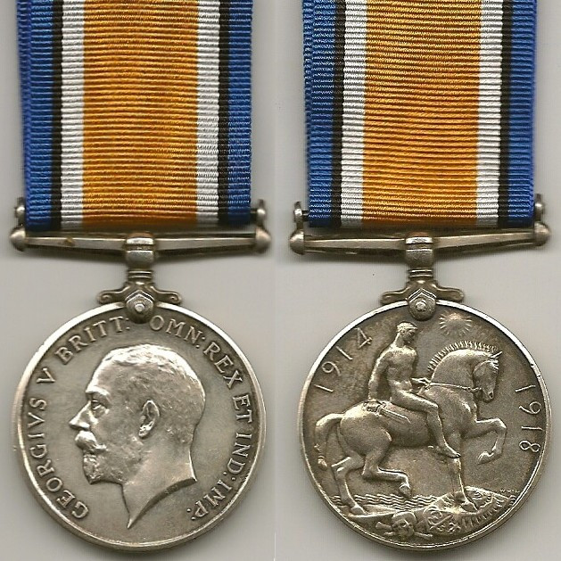British War Medal, showing the front and back.