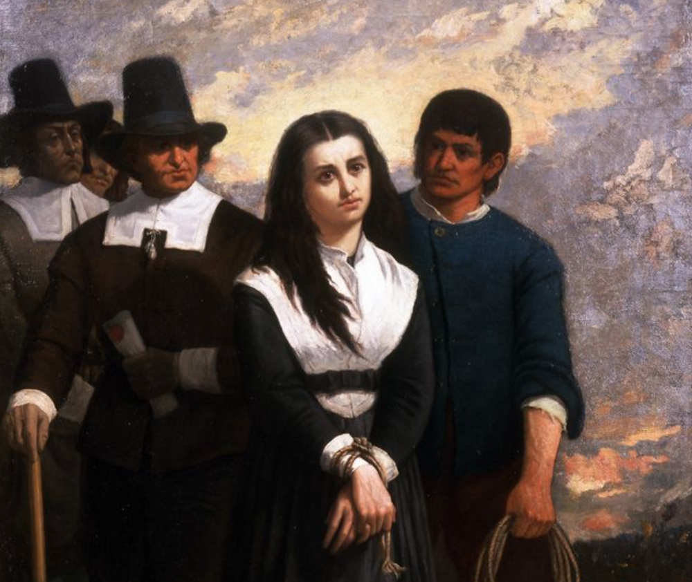 A painting of an accused witch being arrested by Puritans in tall hats.