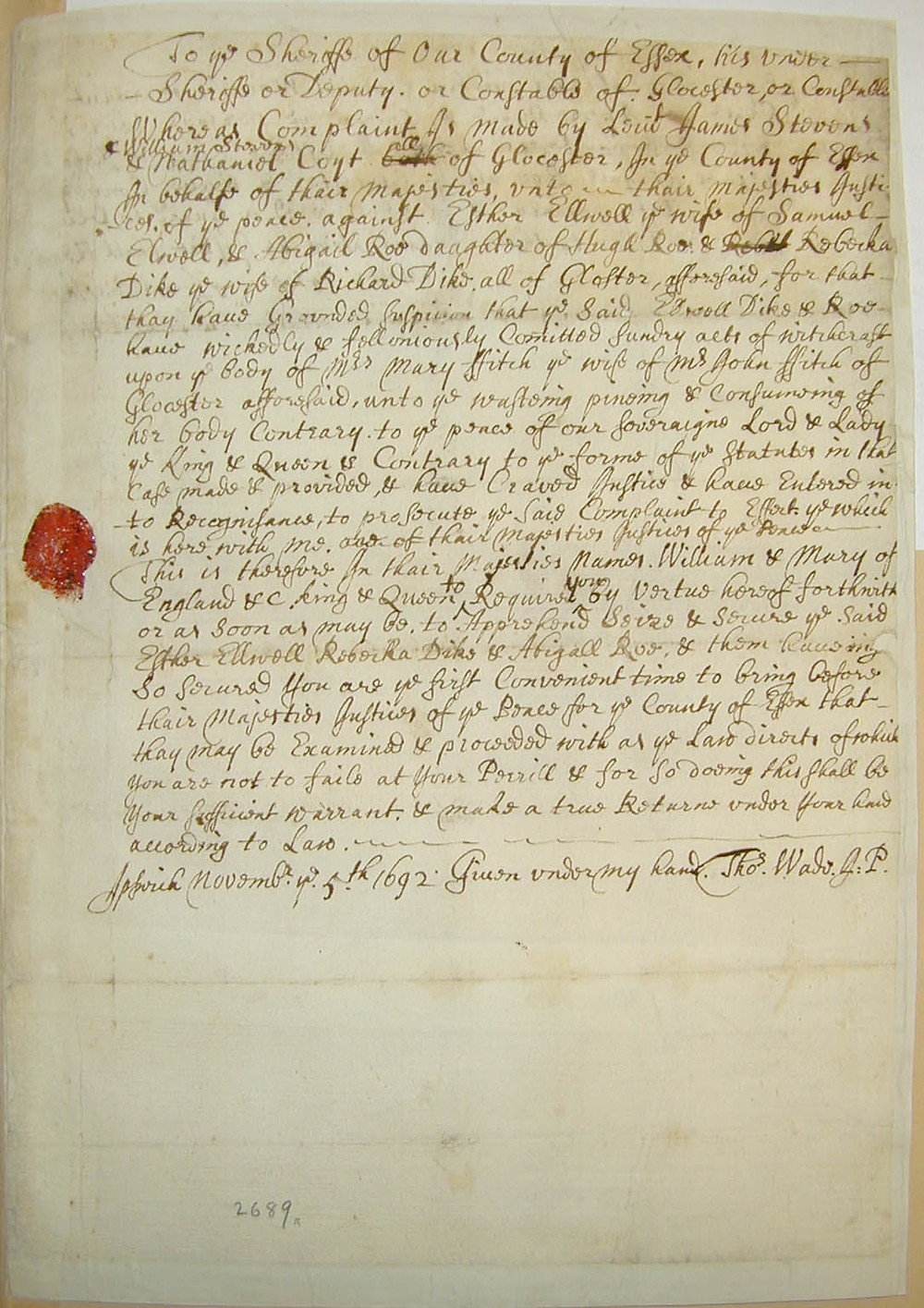 The arrest warrant for Esther Elwell on charges of witchcraft from the Salem Witch Trials.