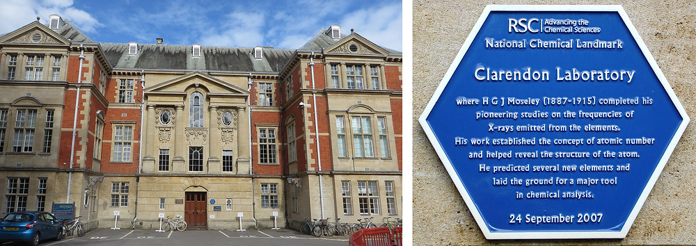 Clarendon Laboratory building at Oxford, where Henry Moseley conducted his experiments.