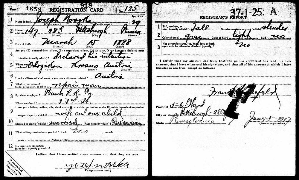 Matthew Noska's ancestor WWI draft registration card. Hollywood Ancestry by Mike Batie