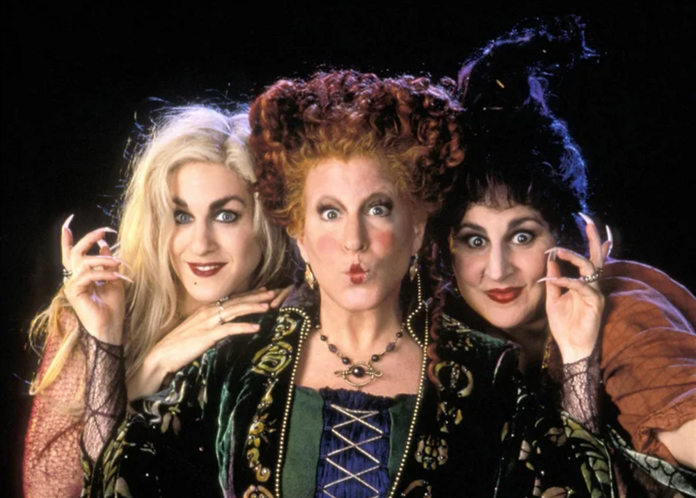 Sanderson Sisters as witches in Hocus Pocus.