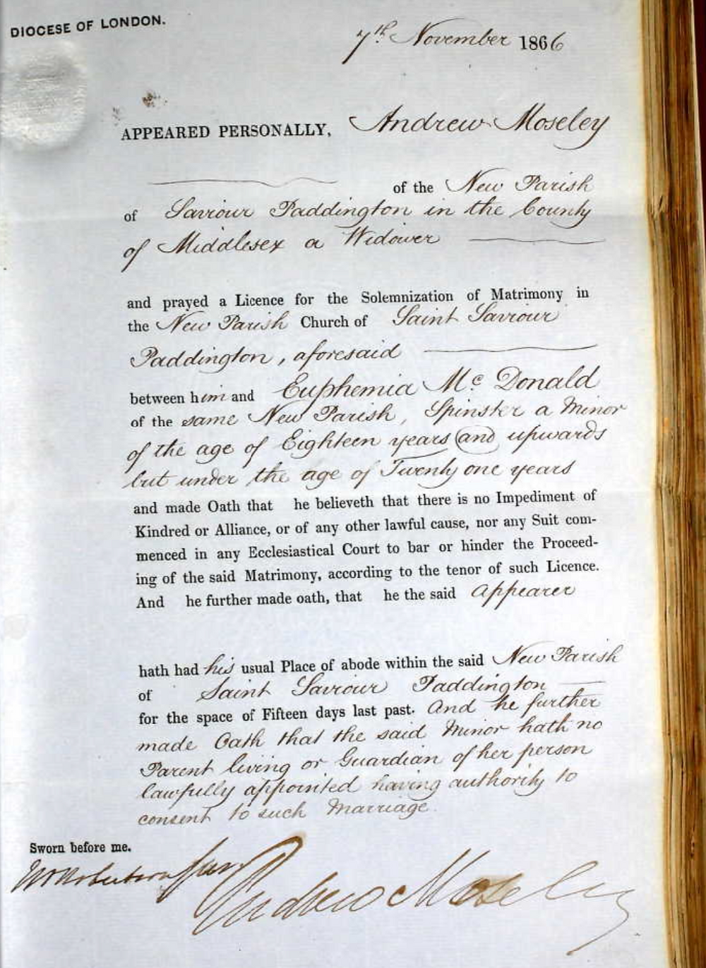 Marriage banns record of Andrew Moseley and Euphemia MacDonald.