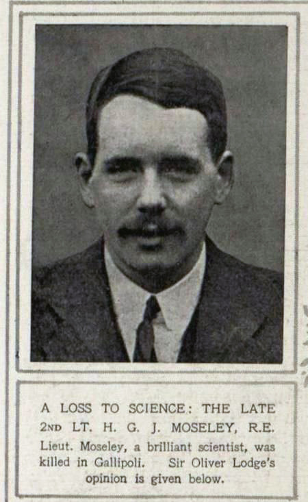 Announcement of Henry Moseley's death in the newspaper with a portrait of Henry.