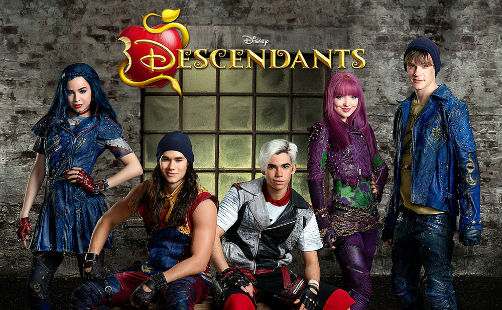 Cameron Boyce with the cast of Descendants, including Mitchell Hope