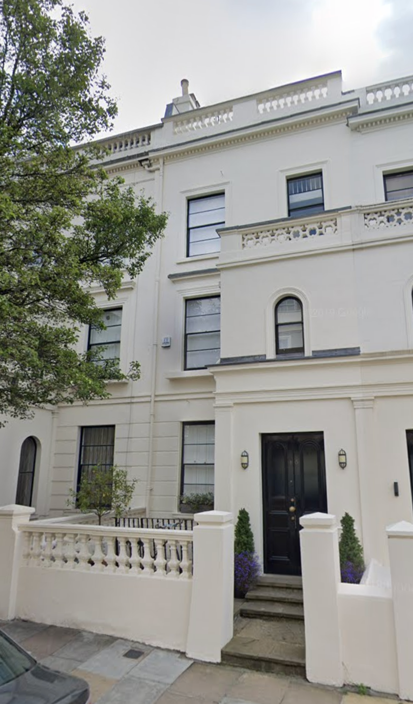 White facade of home where Andrew Moseley and wife Euphemia lived.