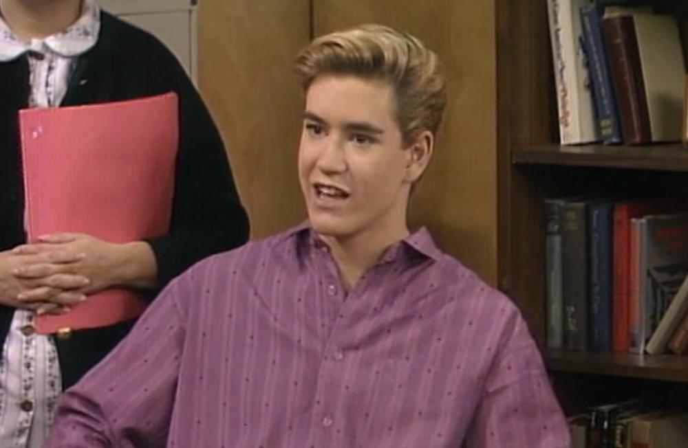 Mark-Paul Gosselaar portraying Zack Morris in Saved by the Bell.