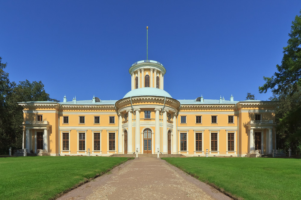 Arkhangelskoye Palace with a yellow cream facade. It once belonged to the Golitsyn family.