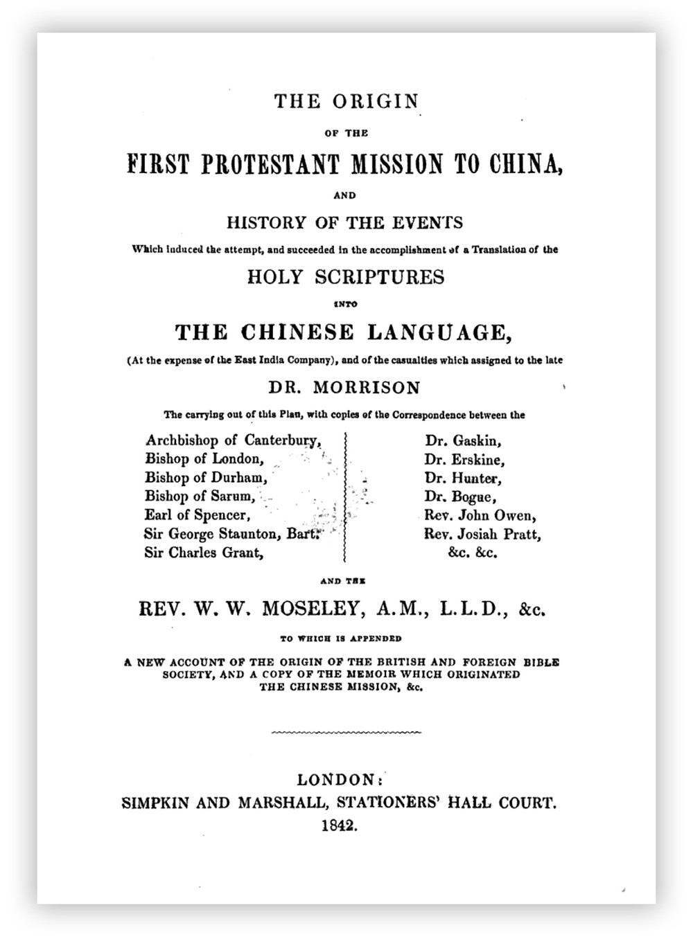 Title page of Rev. Dr. William Willis Moseley's book on the Protestant mission to China.