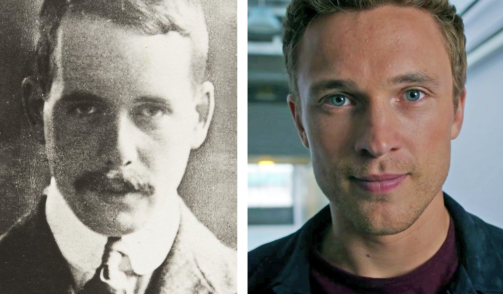 Physicist Henry Moseley portrait side by side with his relative actor William Moseley.