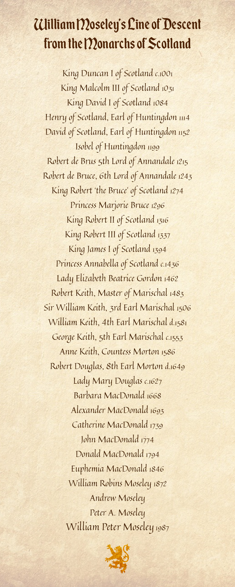 Scroll showing William Moseley's line of descent from Scottish royalty by Mike Batie.