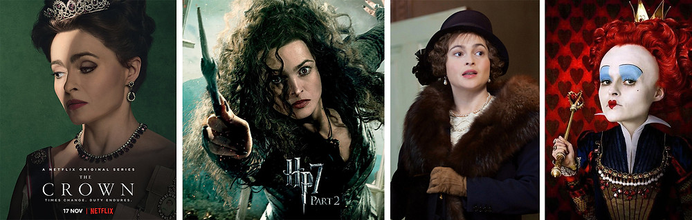 Helena Bonha Carter movie posters for The Crown, Harry Potter, The King's Speech, and Alice in Wonderland.