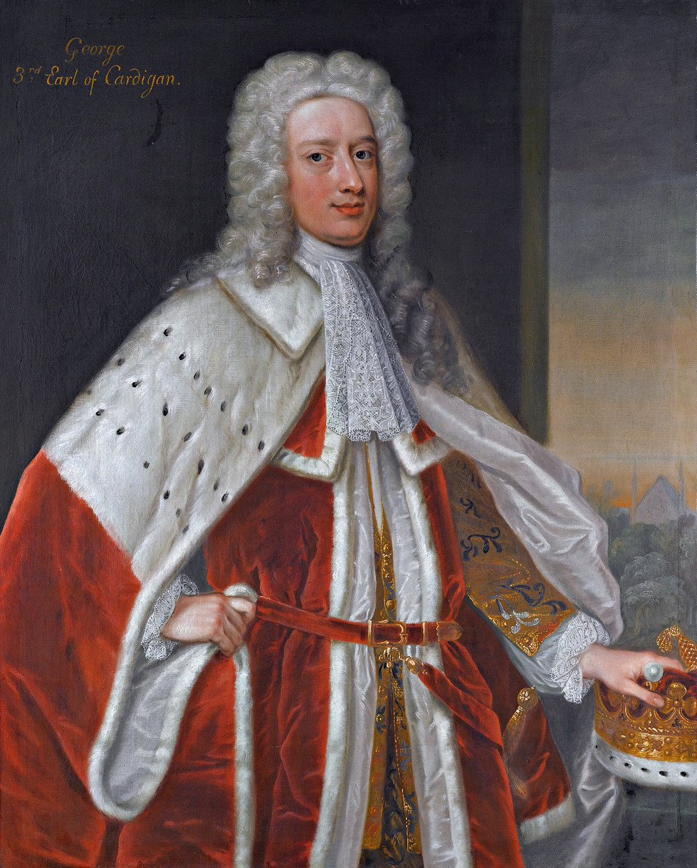 George Brudenall, 3rd Earl of Cardigan, the husband of Elizabeth Bruce, and 7th great grandfather of Eugene Simon.