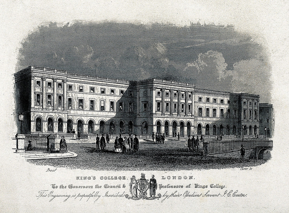 Engraving of King's College London, where Andrew Moseley lectured.