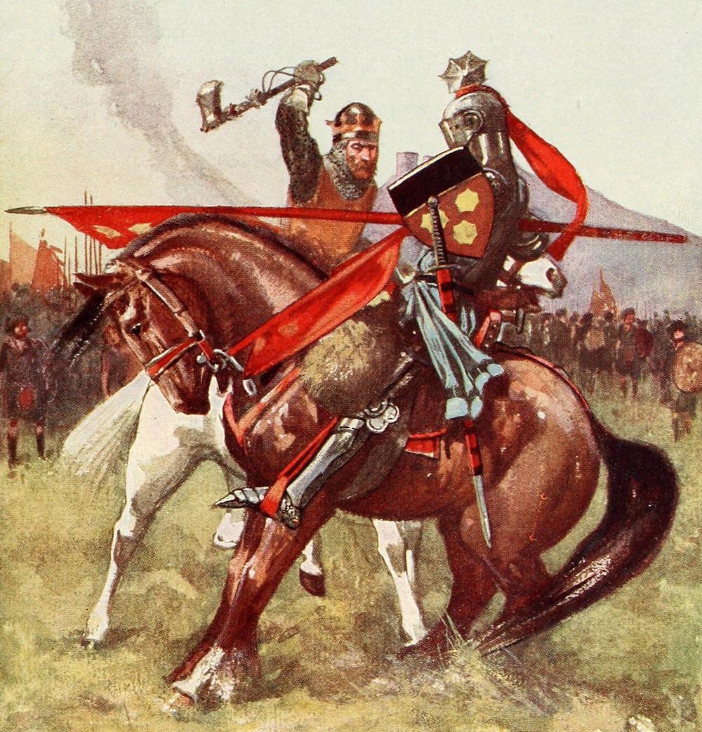 Robert the Bruce battling Henry de Bohun at the Battle of Bannockburn.