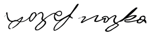 Signature of Matthew Noszka's great grandfather, Jozef Noska. | Hollywood Ancestry by Mike Batie.