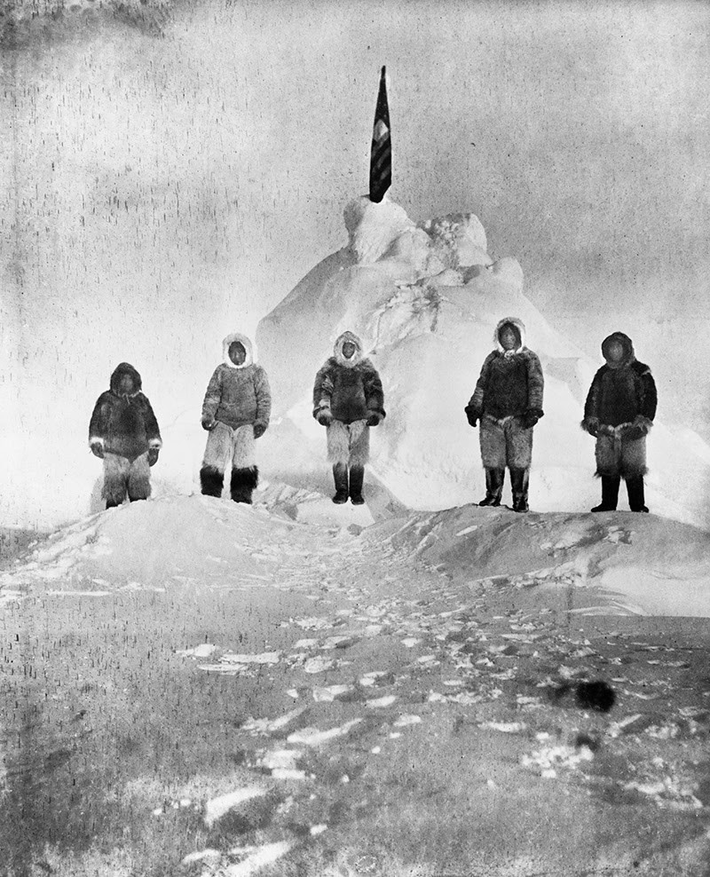 Matthew Henson at the North Pole with Inuit guides and expedition members.