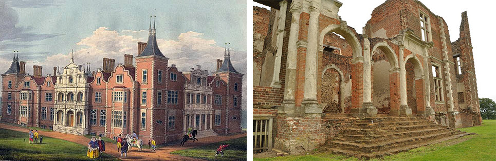 Houghton House, rendering on the left, ruins on the right.