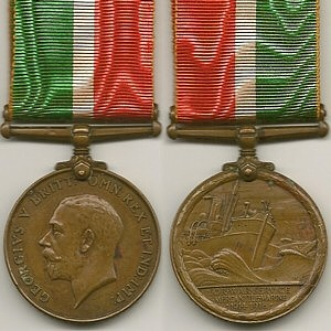 Front and back to the Mercantile Marine War Medal.