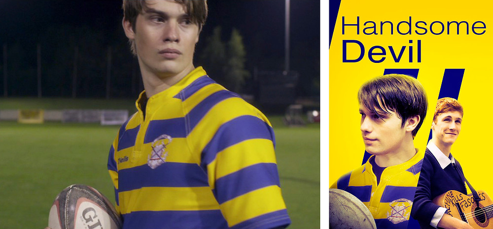Nicholas Galitzine as a rugby player in Handsome Devil movie - Hollywood Ancestry by Mike Batie.