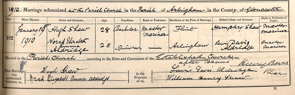 Marriage record of William Moseley's great grandparents, Hugh Shaw and Norah Aldridge.